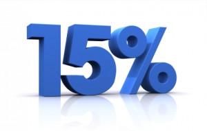 15 por ciento azul